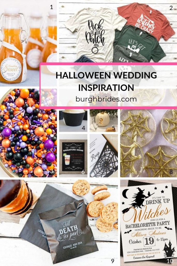 Must Haves for a Bootiful Halloween Wedding. For more holiday wedding ideas, visit burghbrides.com!