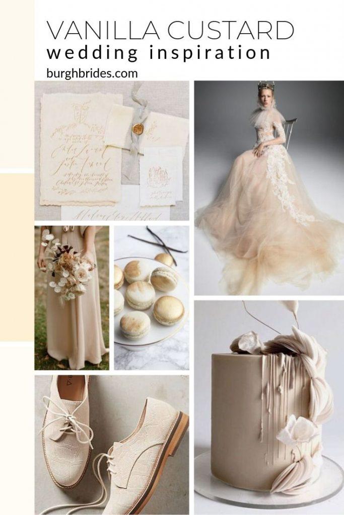 Soft & Pretty Vanilla Custard Wedding Inspiration. For more wedding color palette inspiration, visit burghbrides.com!