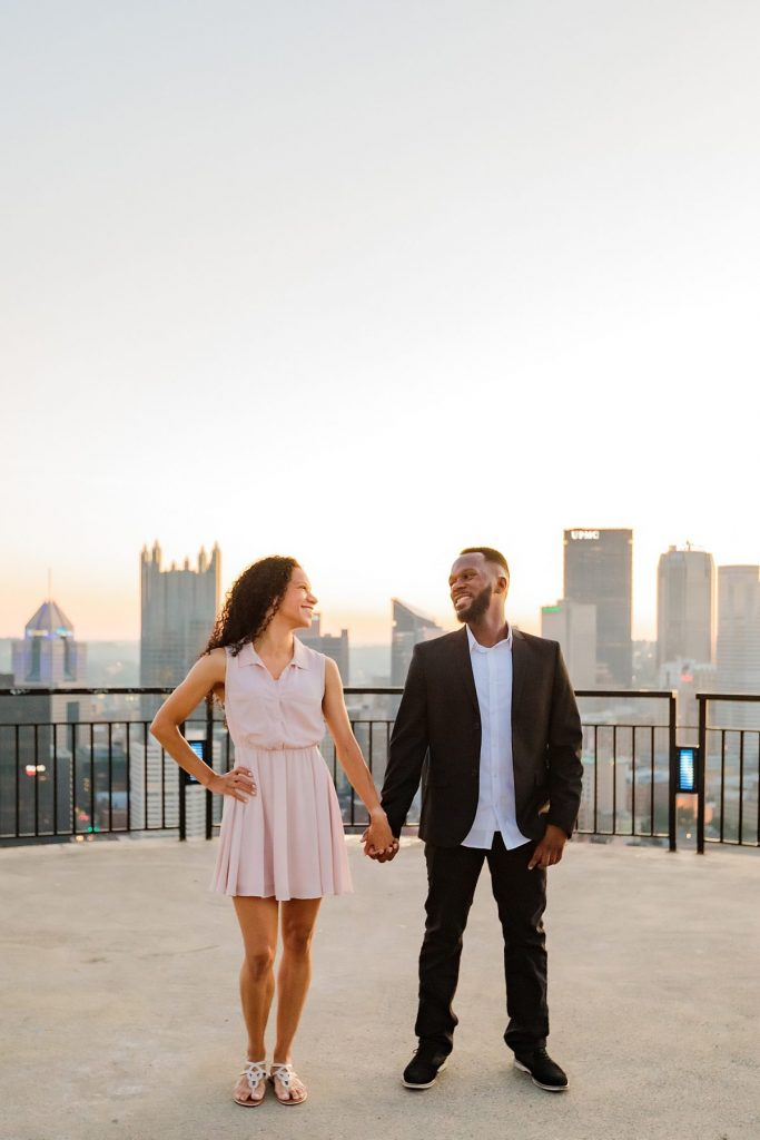 Mt. Washington Engagement Session at Sunrise. For more Pittsburgh engagement photo ideas, visit burghbrides.com!