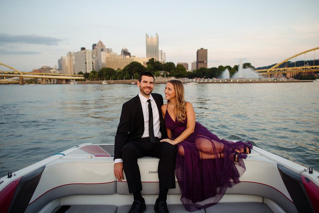 Unique Pittsburgh Engagement Session on the Water. For more fun engagement photo ideas, visit burghbrides.com!