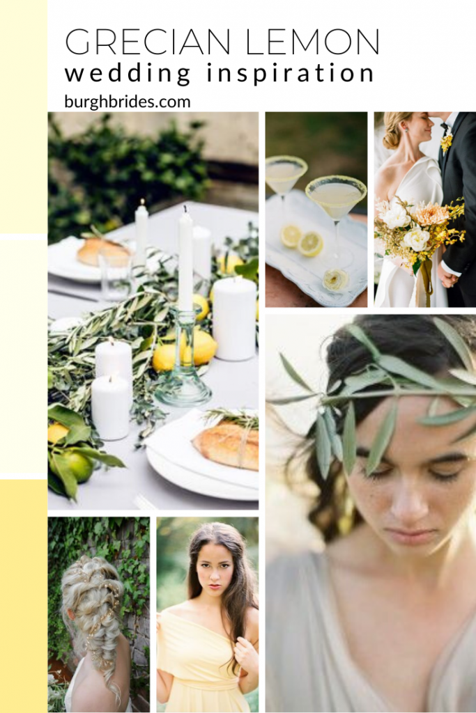 Grecian Lemon Wedding Inspiration. For more yellow wedding ideas, visit burghbrides.com!