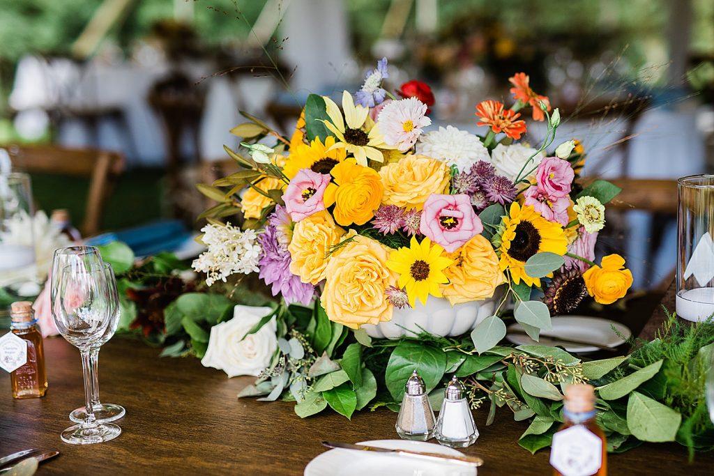 Colorful Mountain Inspired Backyard Wedding. For more fun wedding ideas, visit burghbrides.com!