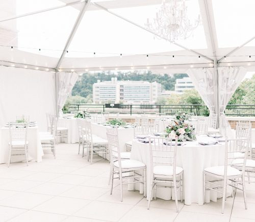 Modern Minimalist Wedding at the Terrace at Hyatt House. For more tented wedding ideas, visit burghbrides.com!