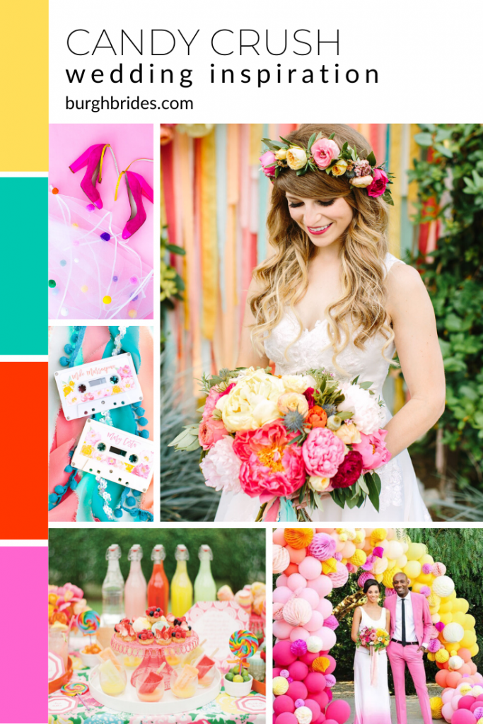 Bright Candy Crush Wedding Inspiration. For more fun wedding ideas, visit burghbrides.com!