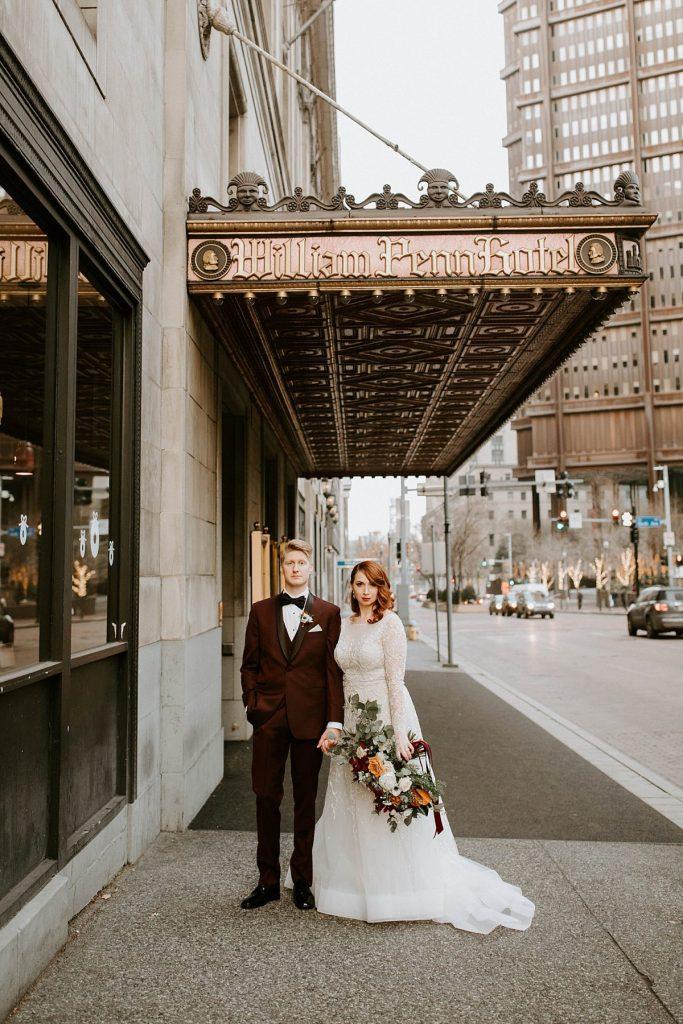 Oxblood & Gold Omni William Penn Hotel Wedding. For more December wedding inspiration, visit burghbrides.com!