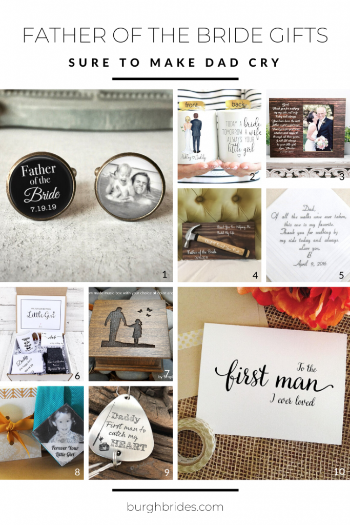 Heartfelt Father of the Bride Gift Ideas. For more wedding gift ideas, visit burghbrides.com!