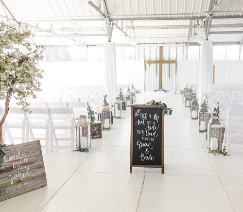 Modern Farmhouse Inspired Wedding at The Atrium. For more simple wedding ideas, visit burghbrides.com!