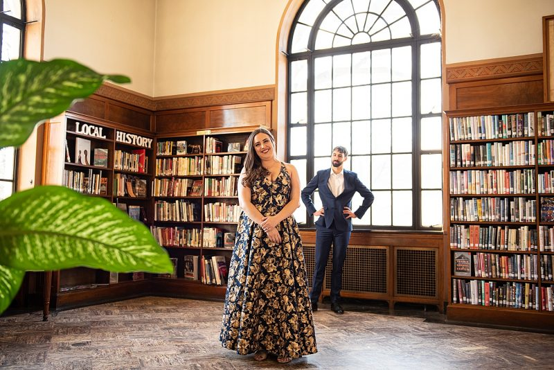 Sweet Library Engagement Session. For more unique engagement photo ideas, visit burghbrides.com!