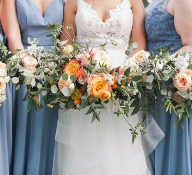 Dusty Blue & Orange Wedding Inspiration. For more wedding color ideas, visit burghbrides.com!
