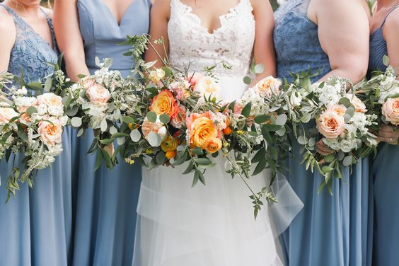 Dusty Blue & Orange Wedding Inspiration. For more wedding color ideas, visit burghbrides.com!