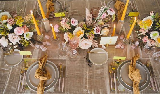Peach, Mustard Yellow, & Green Wedding Inspiration. For more wedding color palette ideas, visit burghbrides.com!