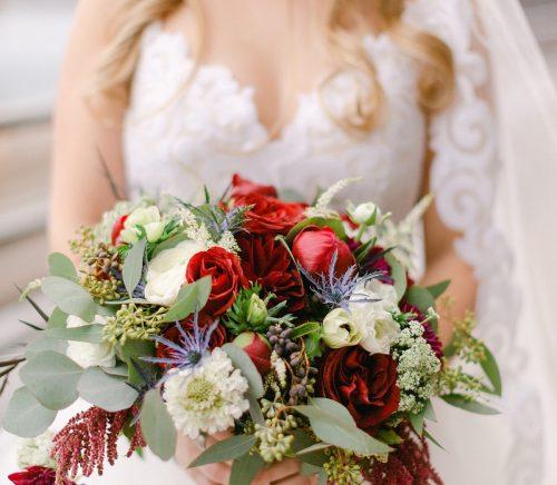 Burgundy & Navy Wedding at Sheraton Station Square. For more ballroom wedding ideas, visit burghbrides.com!