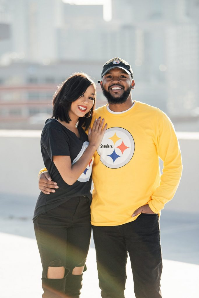 Heinz Field Engagement Session. For more Pittsburgh engagement photo ideas, visit burghbrides.com!