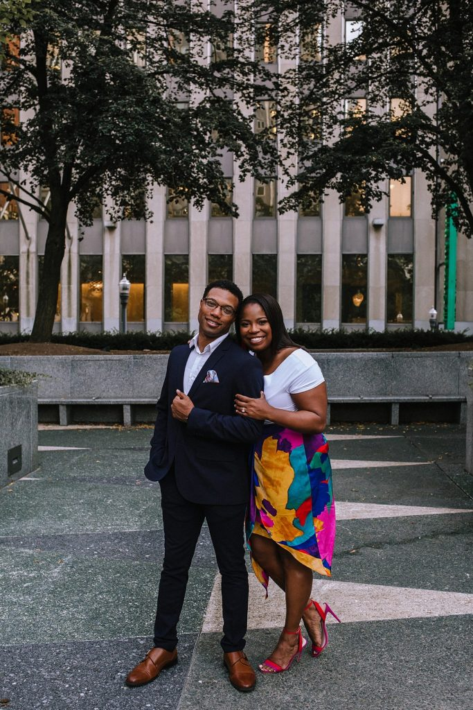 Colorful City Engagement Session. For more downtown Pittsburgh engagement sessions, visit burghbrides.com!