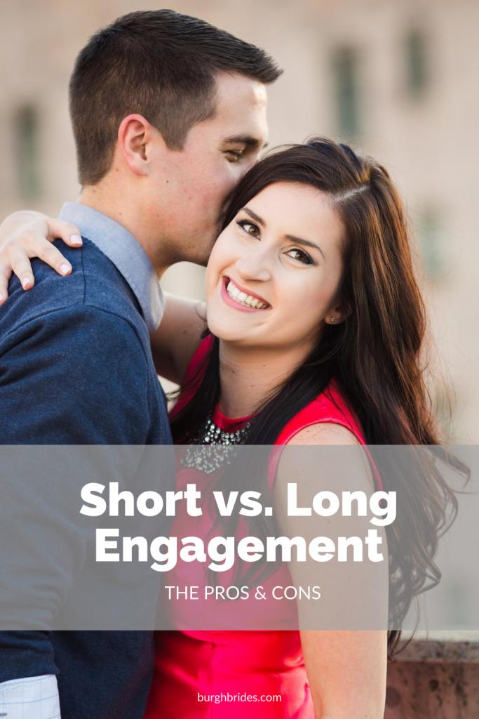 Short vs. Long Engagement: The Pros & Cons. For more wedding planning tips, visit burghbrides.com!