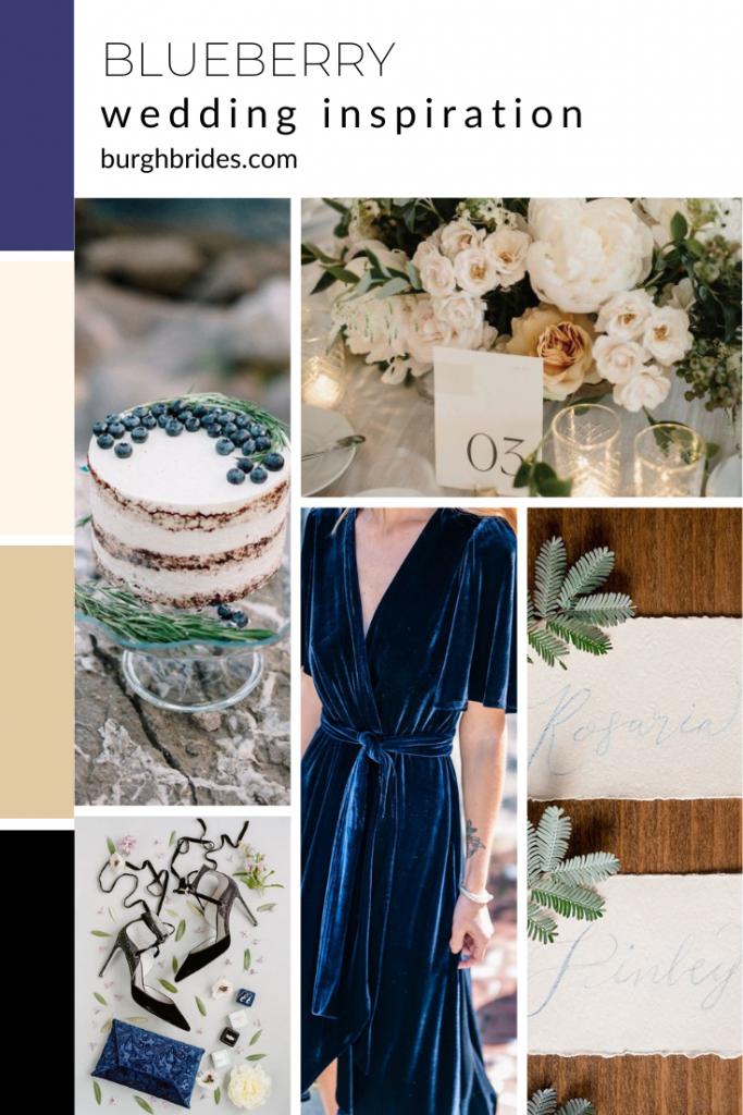 Blueberry Wedding Inspiration. For more wedding color ideas, visit burghbrides.com!