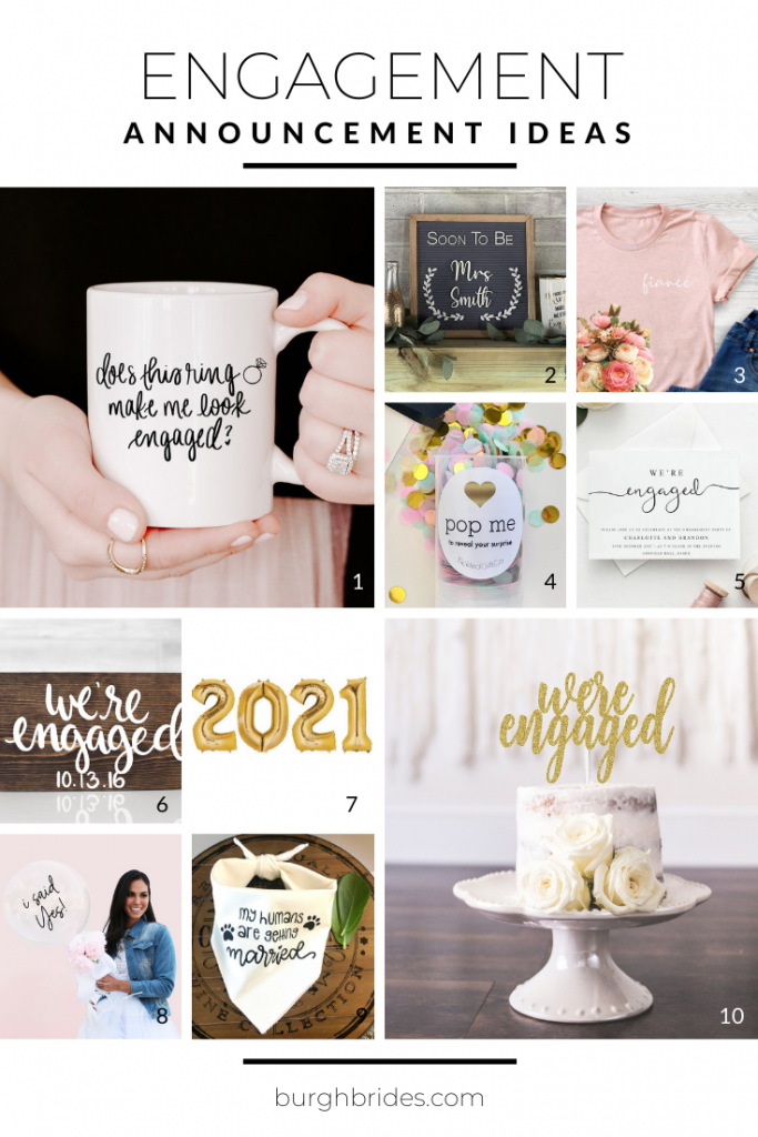 Fun Ways to Announce Your Engagement from Burgh Brides. For more must haves for the bride-to-be, visit burghbrides.com!