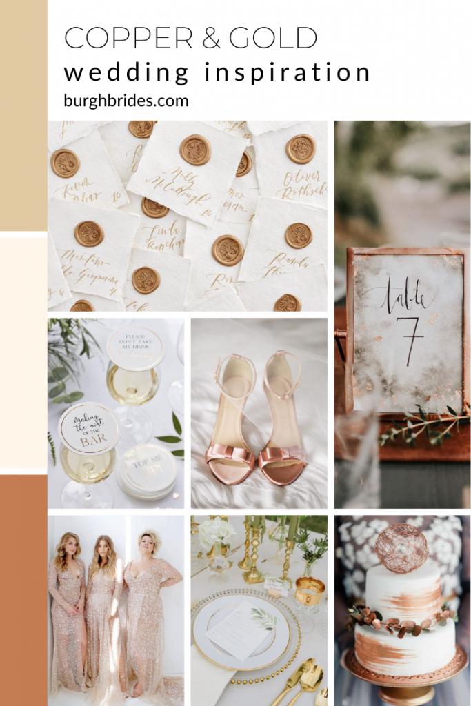 Copper & Gold Wedding Inspiration from Burgh Brides. For more wedding color ideas, visit burghbrides.com!