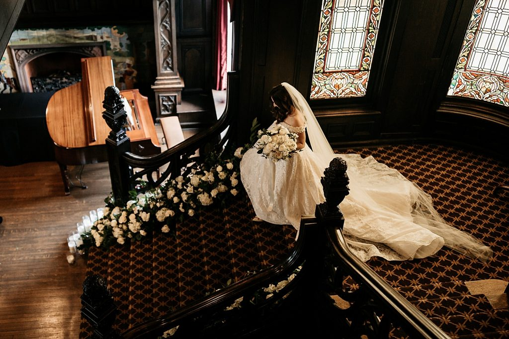 Dramatic Black & White Mansions on Fifth Wedding. For more micro wedding ideas, visit burghbrides.com!