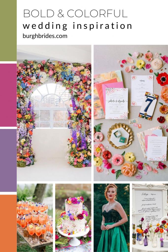 Super Bold & Colorful Wedding Inspiration. For more wedding color palette ideas, visit burghbrides.com!
